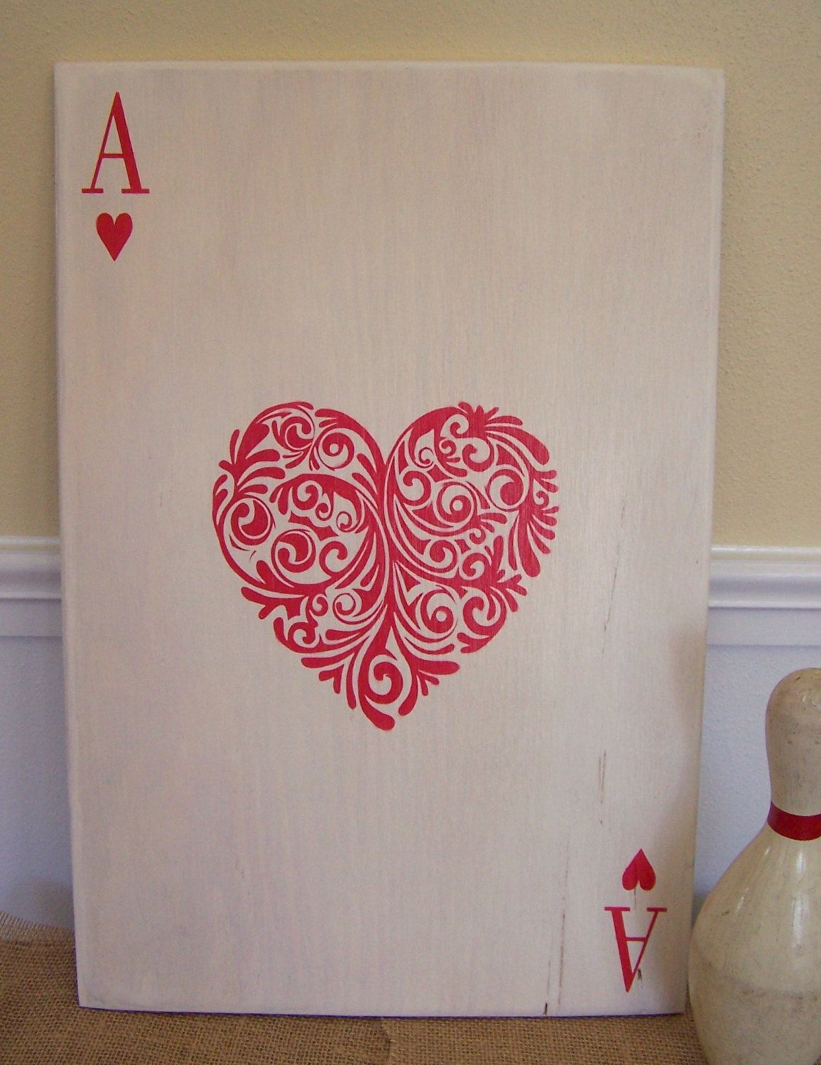 Ace Of Hearts 12 X 18 Plywood Hand Painted Sign Ideas And Designs