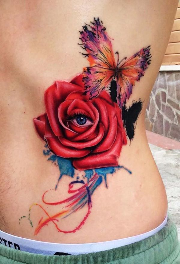 Rose With Eye And Butterfly Tattoo 40 Eye Catching Rose Ideas And Designs