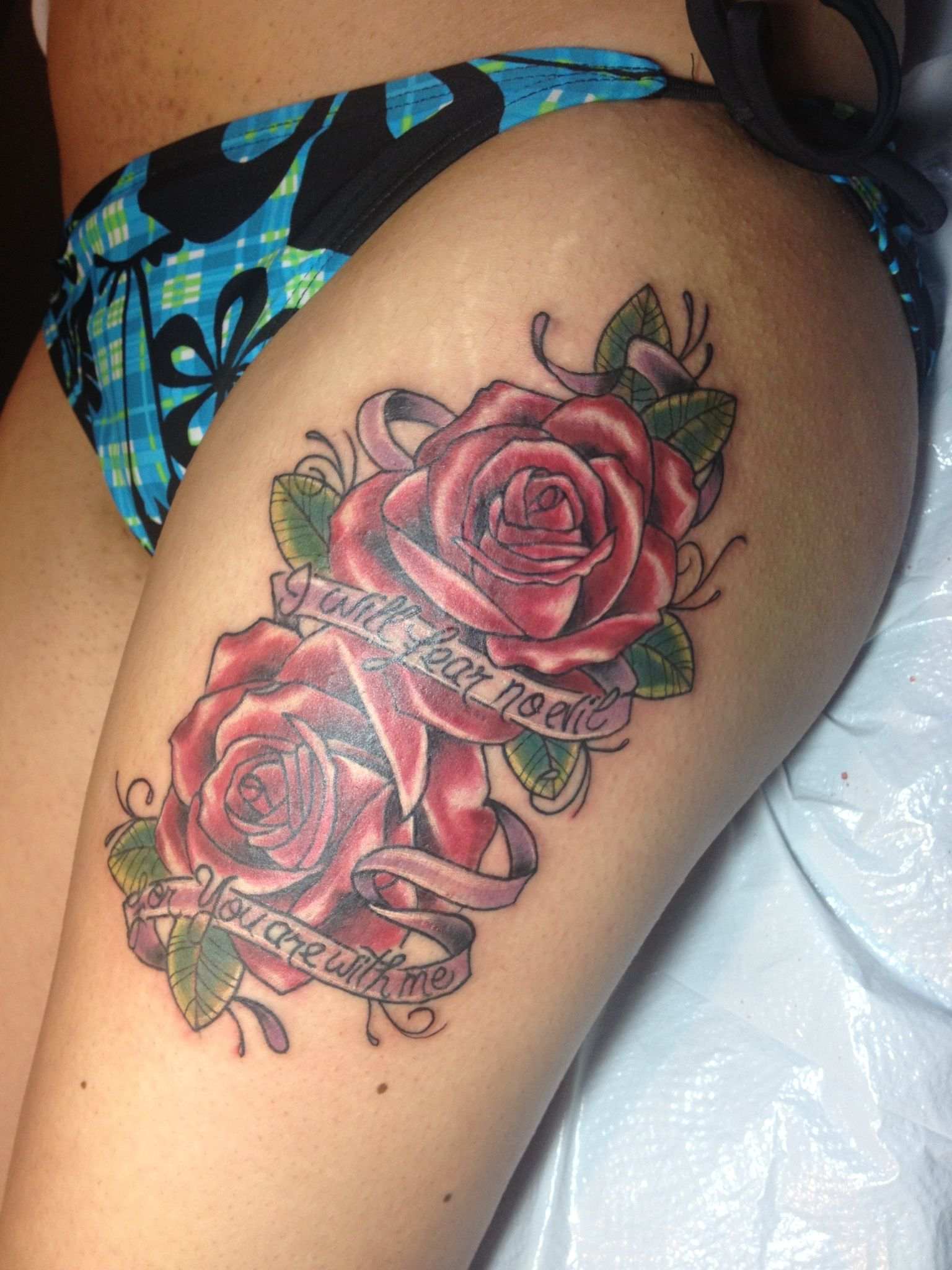 Thigh Tattoo I Will Fear No Evil For You Are With Me Ideas And Designs