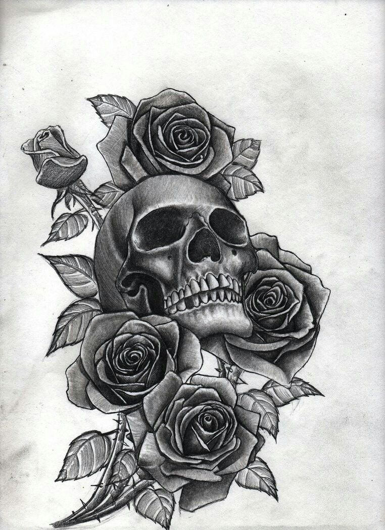 Skull With Roses Tattoo S ♡ Best Sleeve Tattoos Ideas And Designs