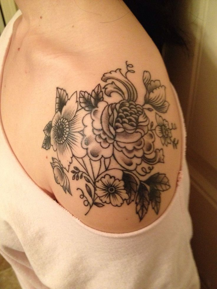 Nice Black And Grey Floral Flower Tattoo On Shoulder Cap Ideas And Designs