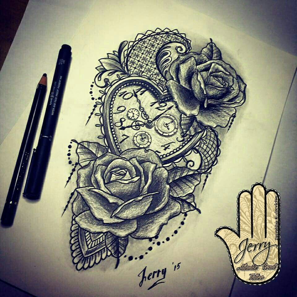 Heart Shape Pocket Watch And Rose Tattoo Design Idea With Ideas And Designs