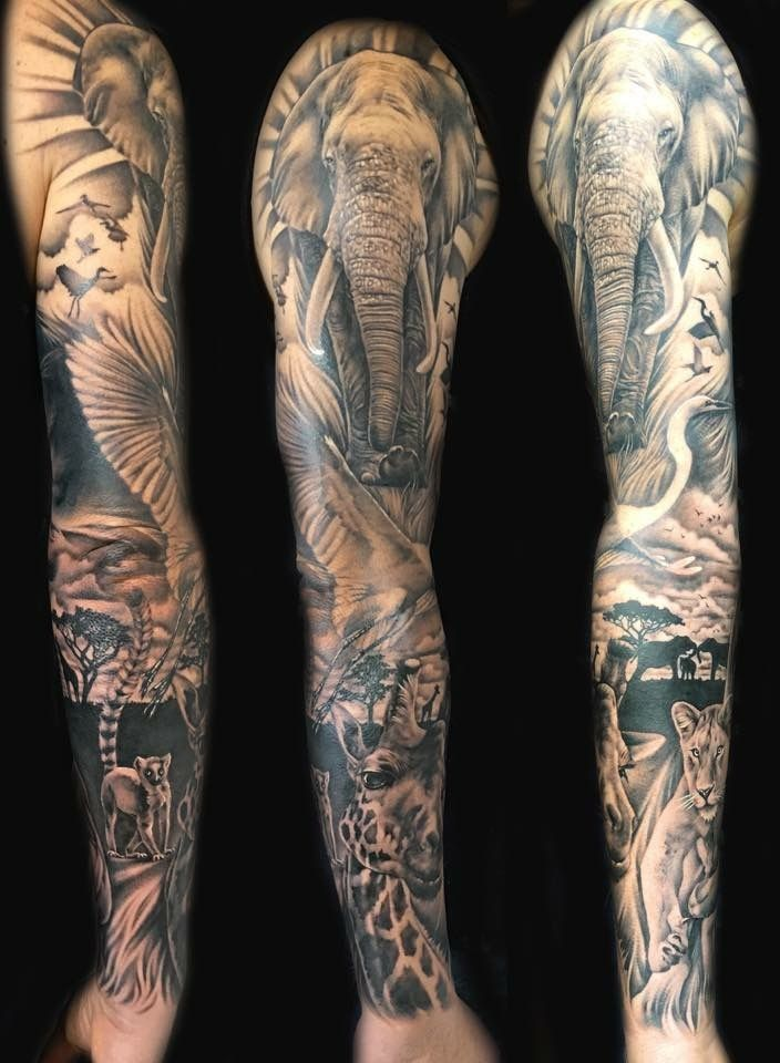 Sleeve African Sleeve Tattoo Wildlife Tattoo Sleeve Tattoo Ideas And Designs