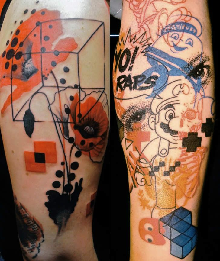 Tattoos Pointillism And Spray Paint Drips Body Ideas And Designs