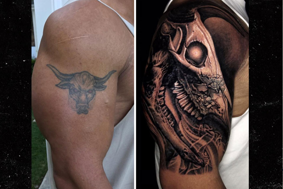 The Rock Covers Famous Bull Tattoo With A More Menacing One Ideas And Designs