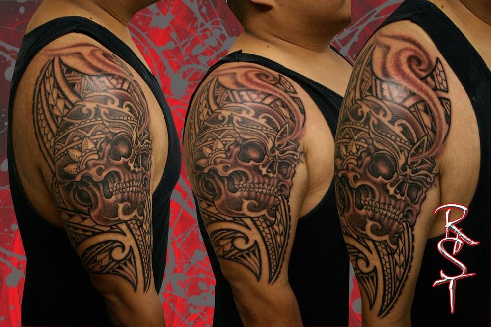 Skull Polynesian 1 2 Sleeve Clients First Tattoo Done Ideas And Designs