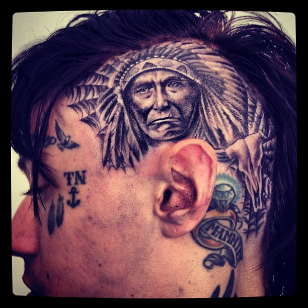 Photo Trace Cyrus Gets Elaborate Native American Tattoo On Ideas And Designs