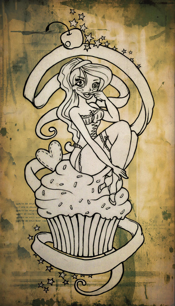 Cupcake Pin Up Tattoo By Blacksilence92 On Deviantart Ideas And Designs