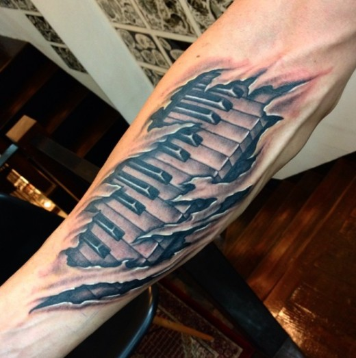 Awesome 3D Realistic Piano Tattoo For Sleeve Ideas And Designs