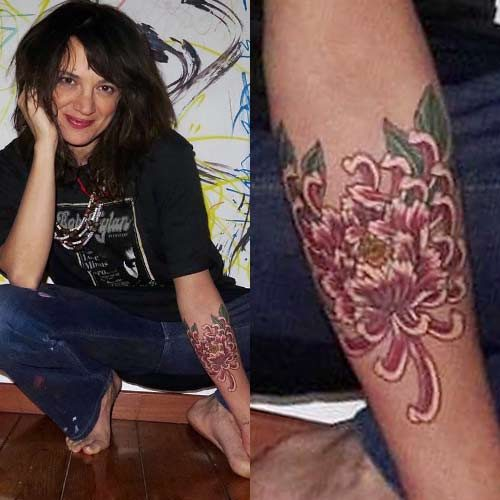 Asia Argento Flower Forearm Tattoo Steal Her Style Ideas And Designs