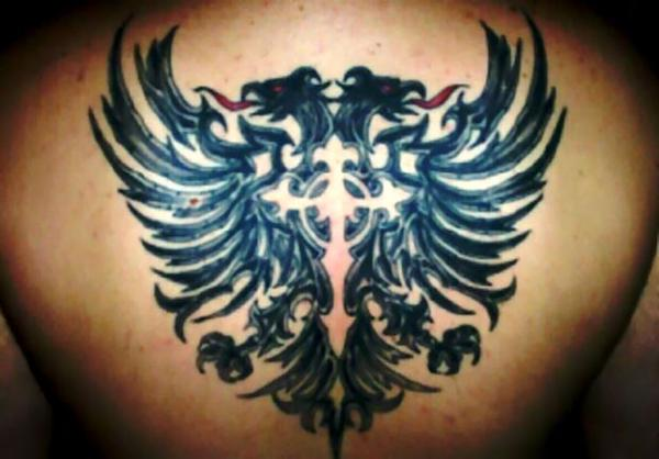 Albanian Eagle Tattoos With Cross Back Tattoo Ideas And Designs