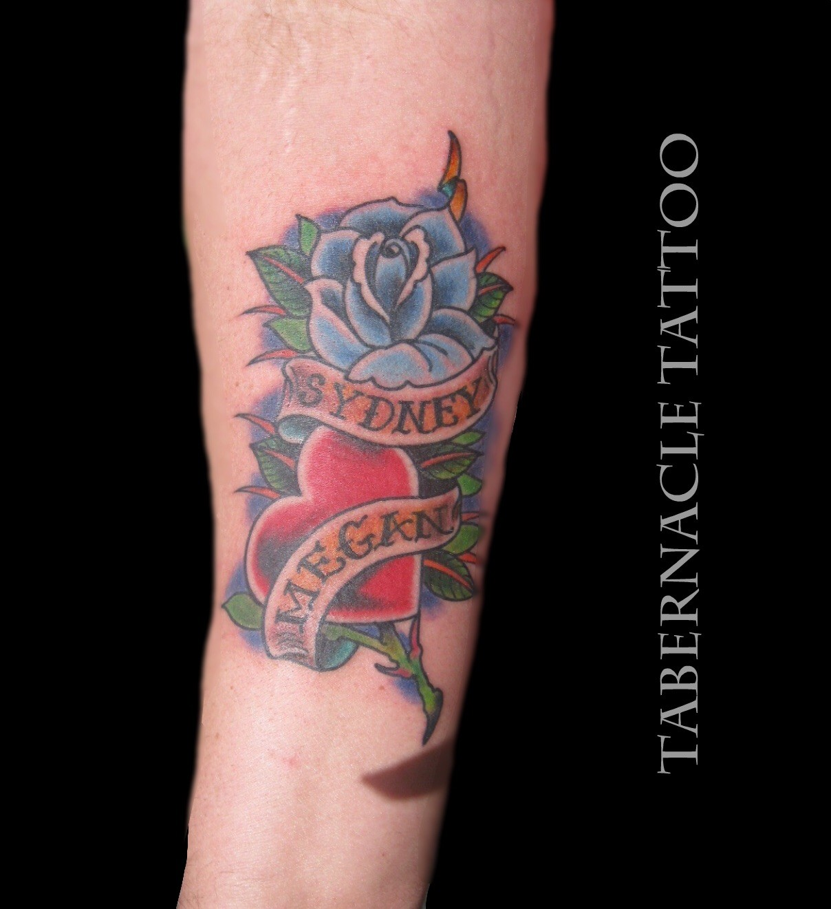 Rose And Heart Banner Tattoo – Tabernacle Tattoo Tampa Florida Ideas And Designs