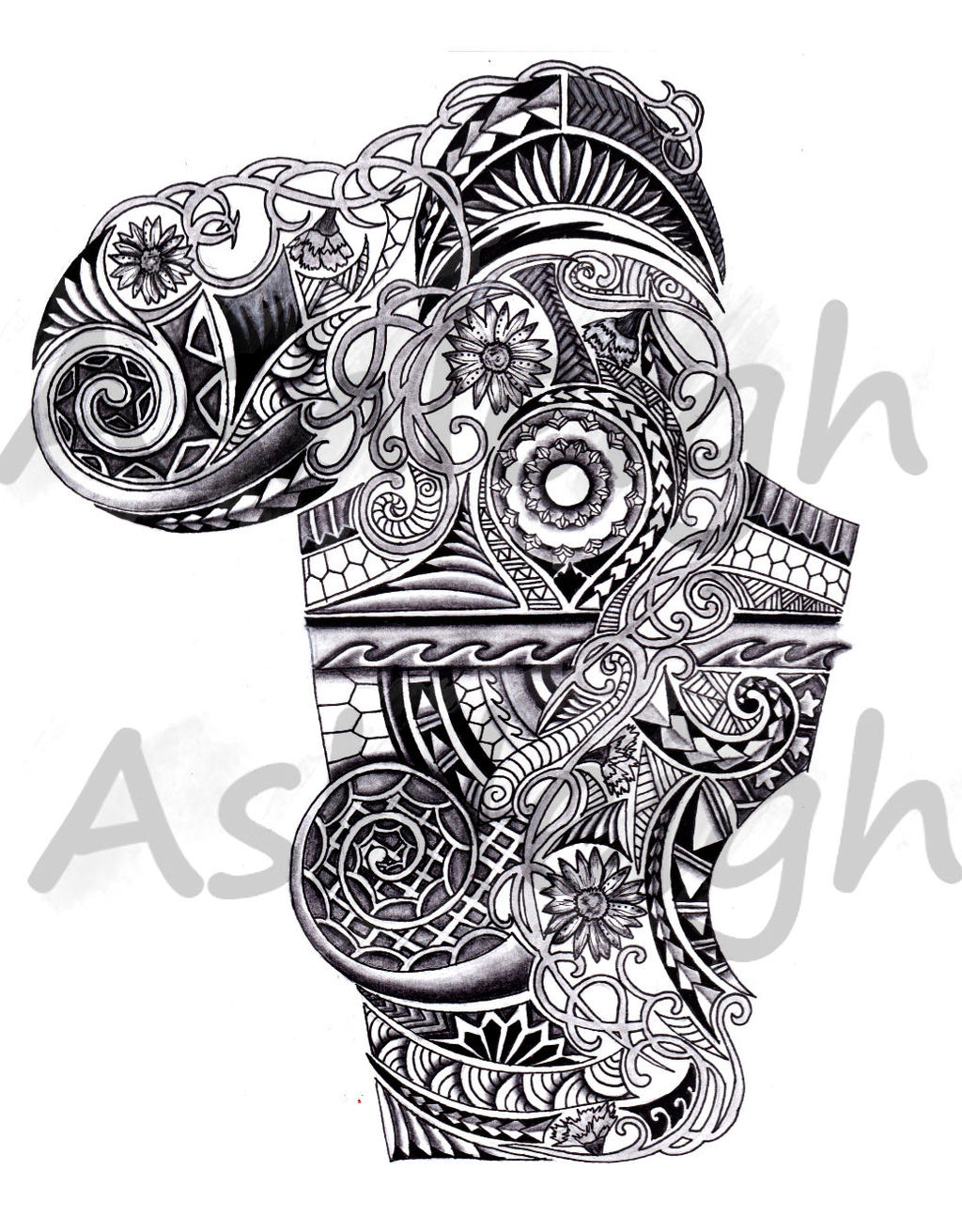 Art Nouveau Inspired Polynesian Sleeve By Ideas And Designs