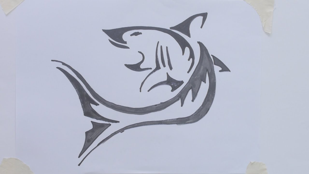 How To Draw Shark Tribal Tattoo Youtube Ideas And Designs