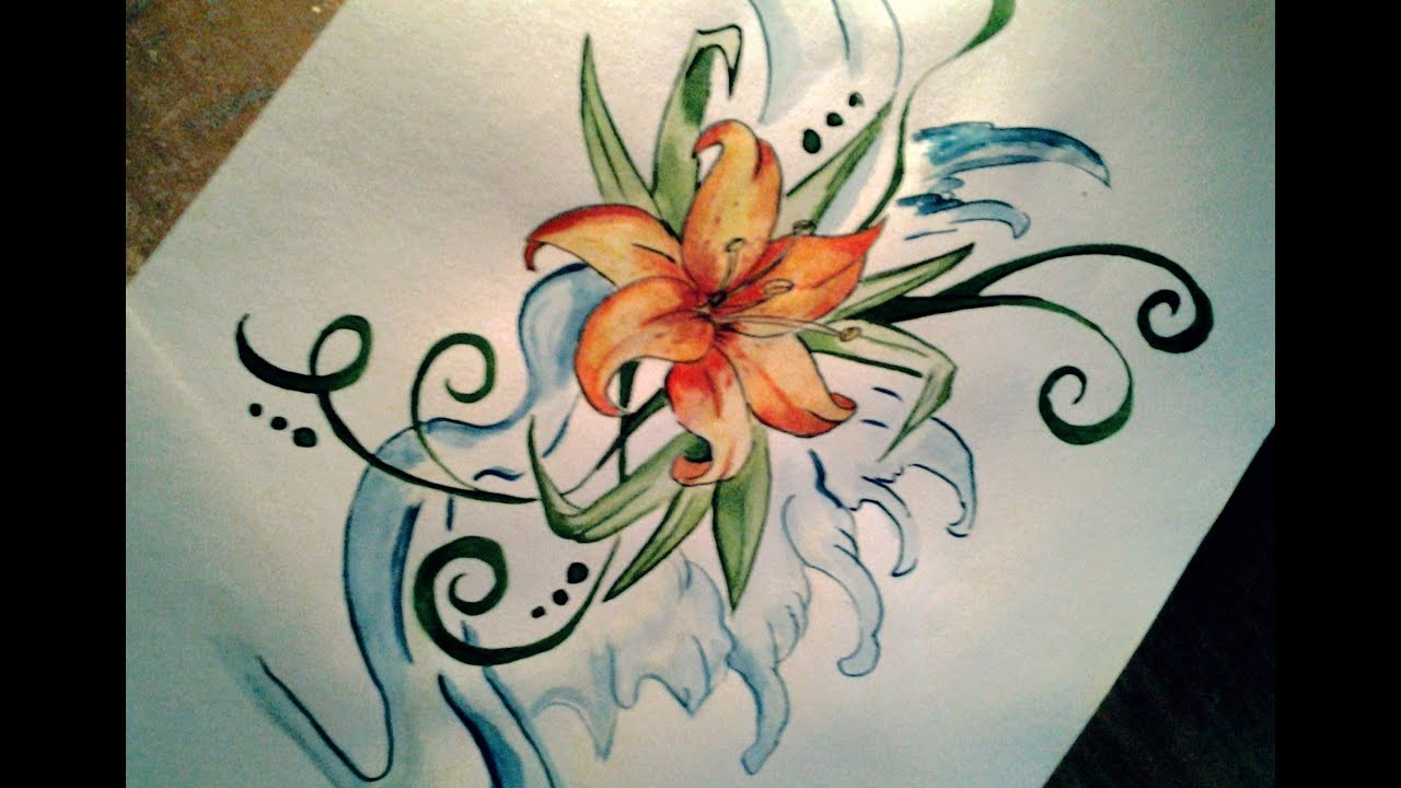 Easy Lily Tattoo Drawing Youtube Ideas And Designs
