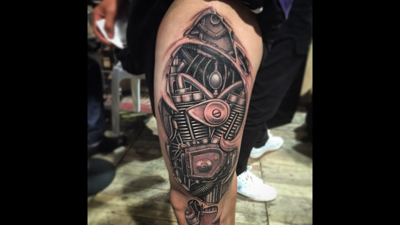 No Stencil No Sketching Biomechanical Tattoo 2014 Ideas And Designs