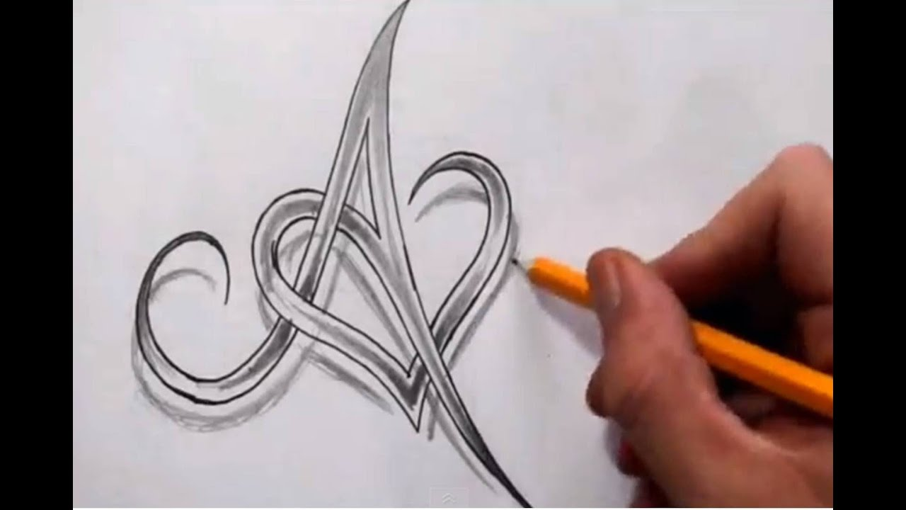 Initial A And Heart Combined Together Celtic Weave Style Ideas And Designs