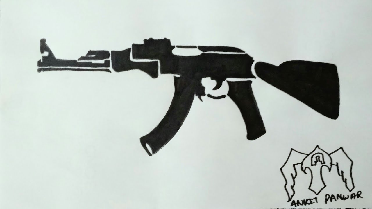 How To Draw A Ak 47 Gun Tattoo Form Step By Step Youtube Ideas And Designs