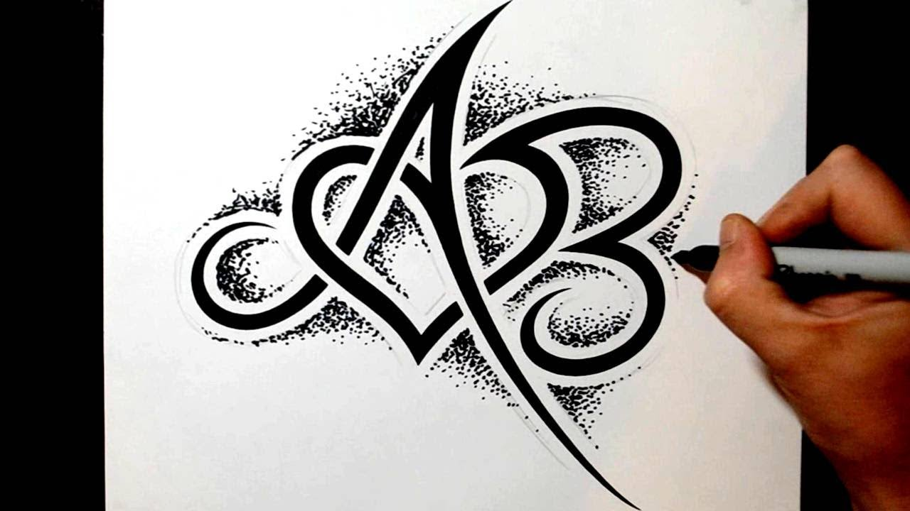 Combining Initials A And B With A Heart Tattoo Design Ideas And Designs