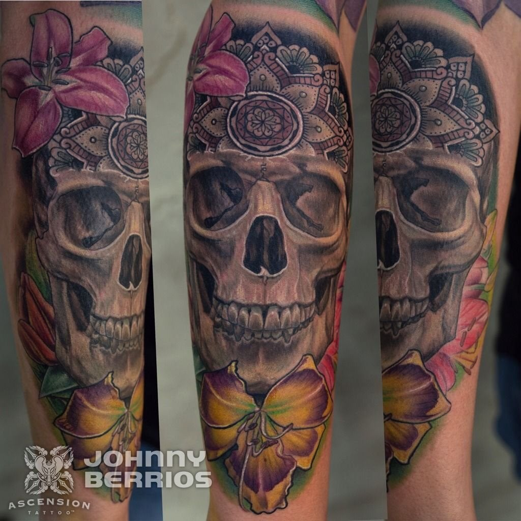 Skull With Mandala And Flowers Tattoo By Johnny Berrios Ideas And Designs