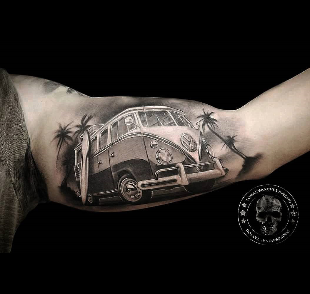 Surf S Up Vw Camper Mens Inner Bicep Piece Best Tattoo Ideas And Designs