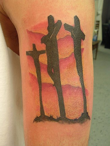 Golgotha Cross Tattoo In Colour Tattooimages Biz Ideas And Designs