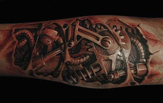 Real 3D Biomechanical Leg Tattoo – Truetattoos Ideas And Designs