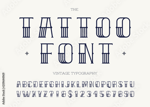 Tattoo Font Black Color Retro Font Sans Serif Style For Ideas And Designs
