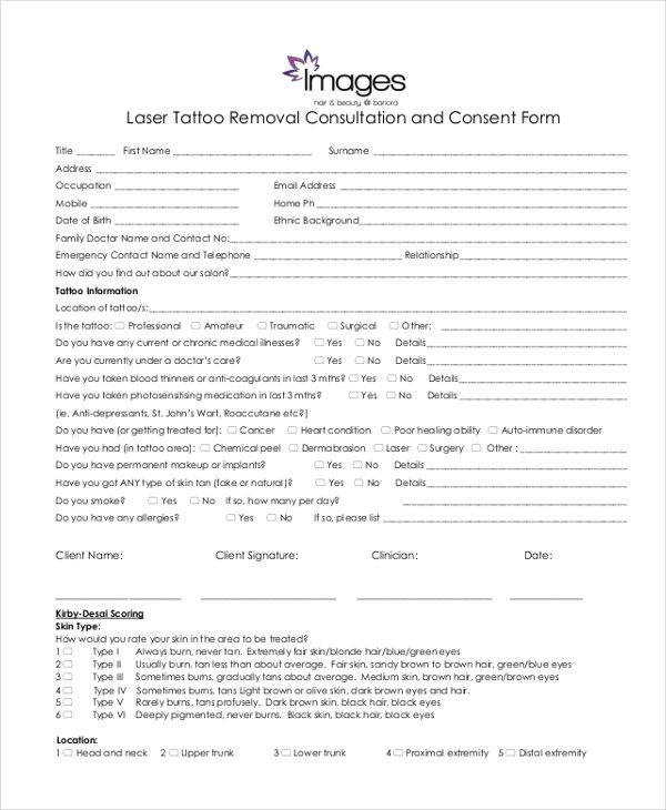 Sample Tattoo Consent Forms 10 Free Documents In Pdf Ideas And Designs
