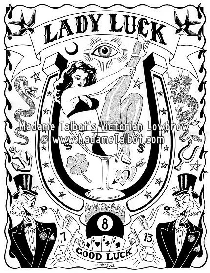 Lady Luck Poker Tattoo Lowbrow Lucky Fortune Poster Madame Ideas And Designs