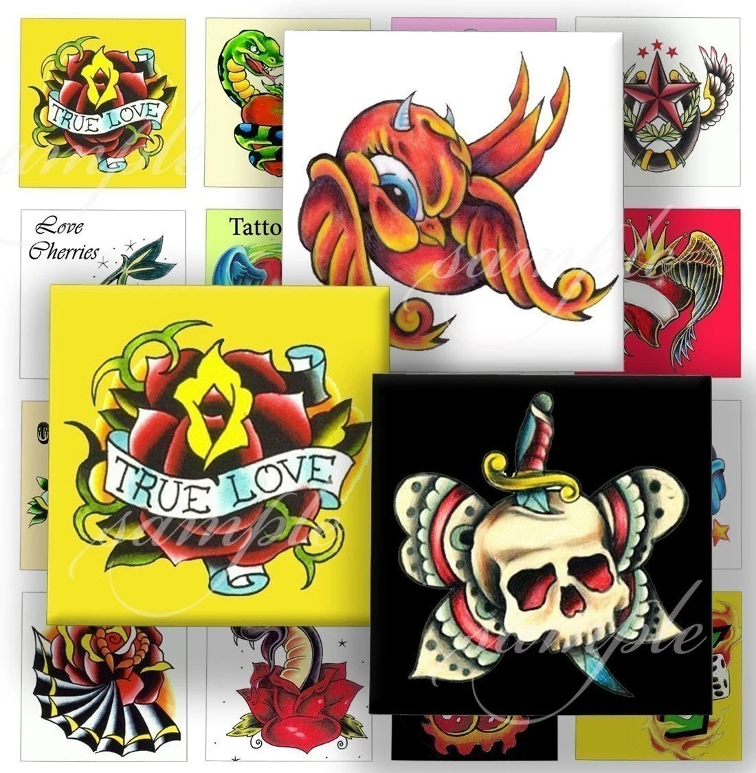 Old School Tattoo Designs Digital Collage 120 Sheet 1 Inch Ideas And Designs