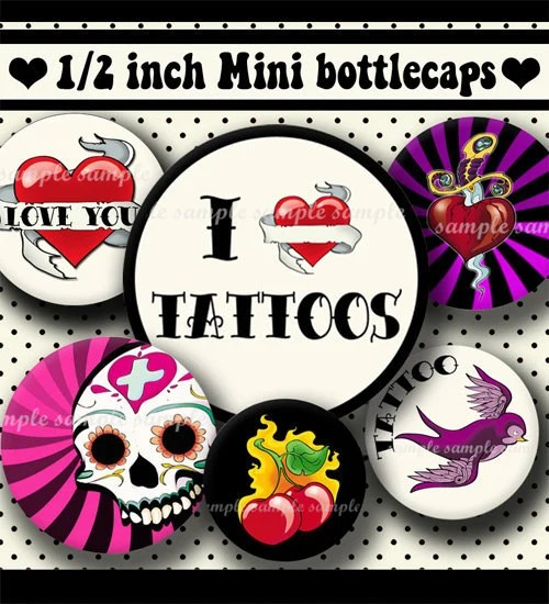 Instant Download Tattoo Designs 370 4X6 Digital Collage Ideas And Designs