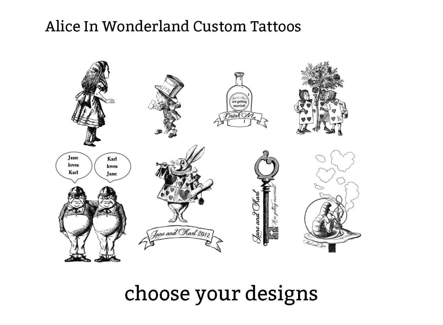 Alice In Wonderland Customisable Temporary Tattoos Party Ideas And Designs