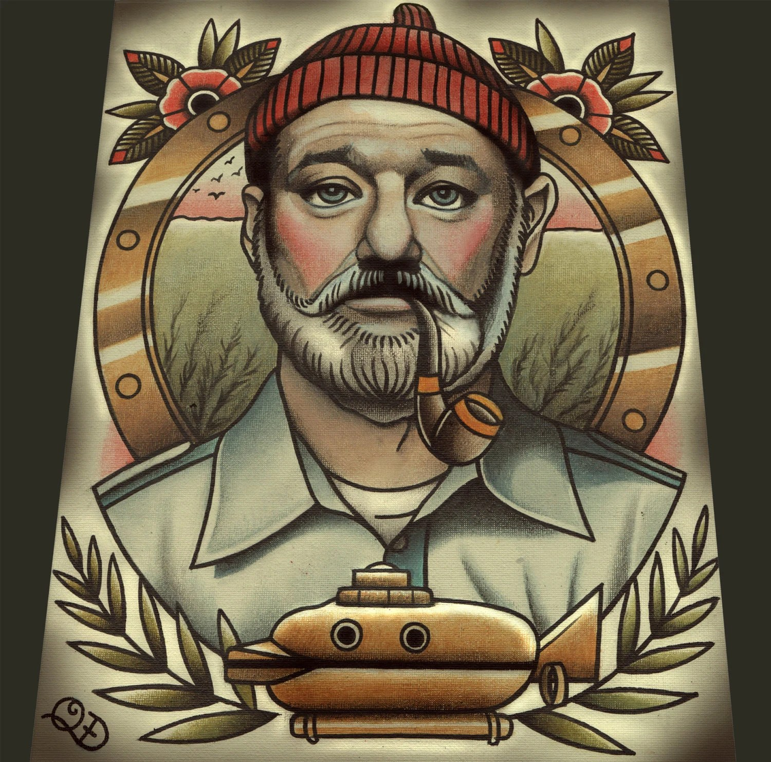 Steve Zissou Tattoo Art Print Etsy Ideas And Designs