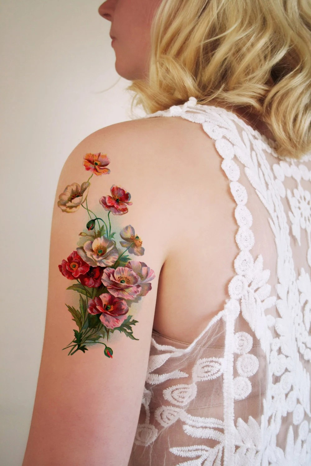 Large Vintage Floral Temporary Tattoo Flower By Tattoorary Ideas And Designs
