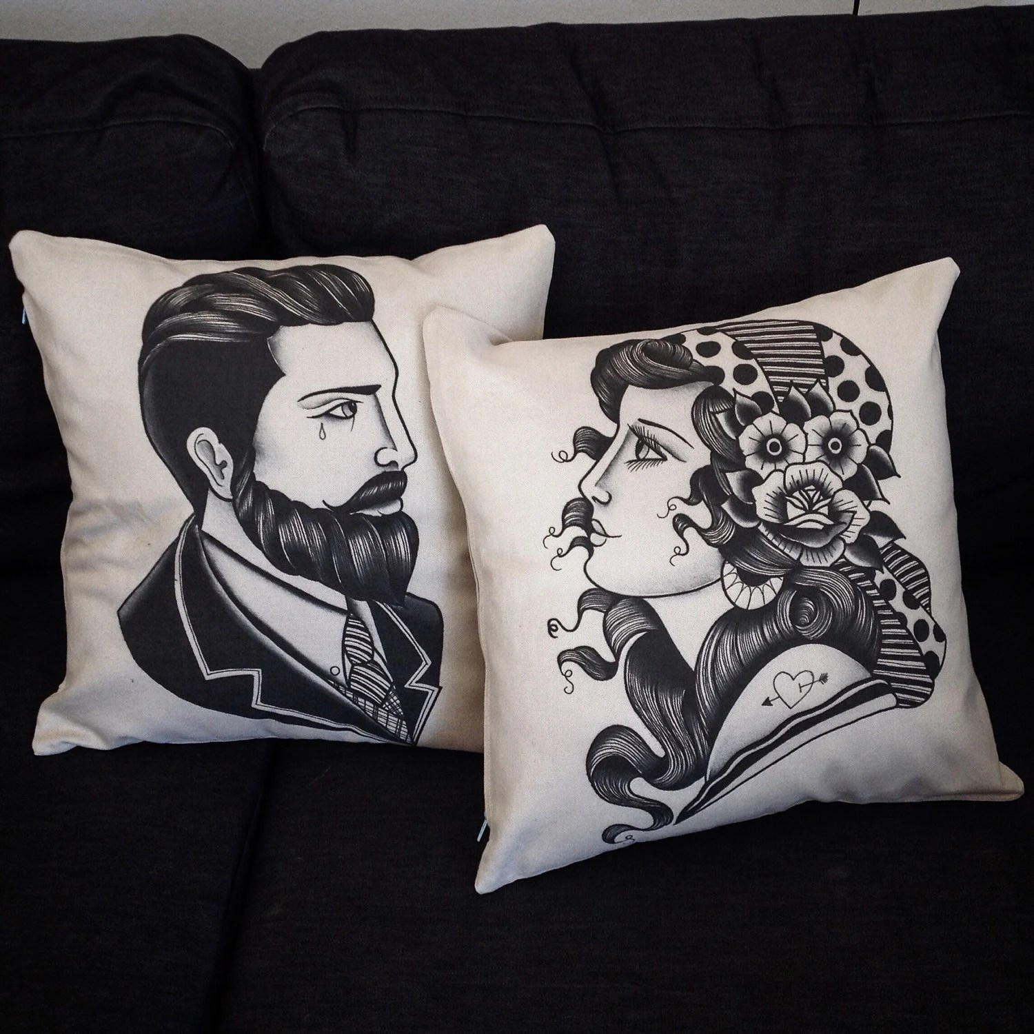 Couples Cushion Cover Set With Tattoo Print Mr And Mrs Ideas And Designs