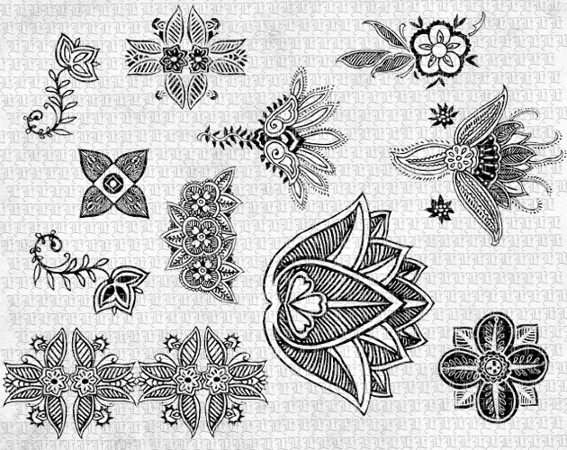 Floral Henna Tattoo Designs Digital Clip Art Printable Ideas And Designs
