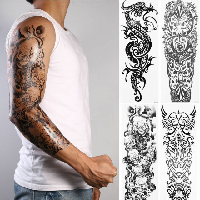 4 Sheets Large Totem Tattoo Sticker Body Art Men 3D Big Ideas And Designs