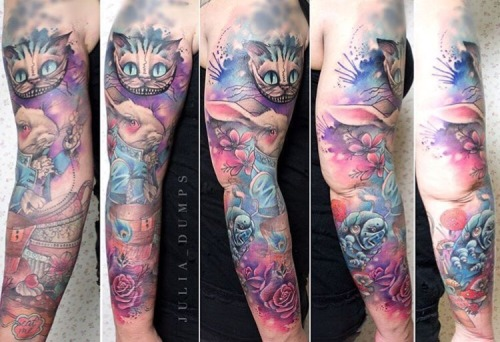 Alice In Wonderland Tattoo Sleeve Tumblr Ideas And Designs