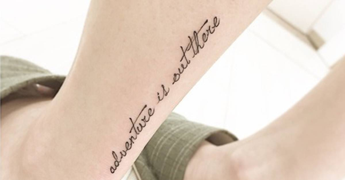 Aquiles Tattoo Saying Adventure Is Out There Ideas And Designs