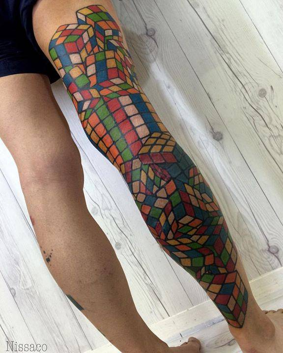Rubik S Cube Leg Sleeve Tattoo All Done Thank You Ideas And Designs