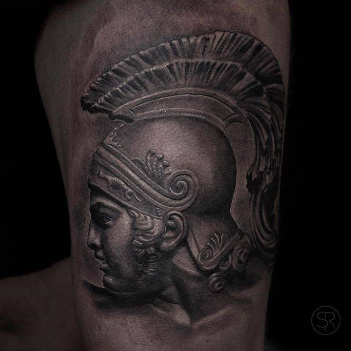 Black And Grey Achilles Tattoo On The Left Thigh Ideas And Designs