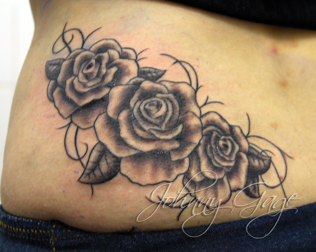 Gaga Style Roses And Vines Tattoo Tattooed By Johnny At Ideas And Designs