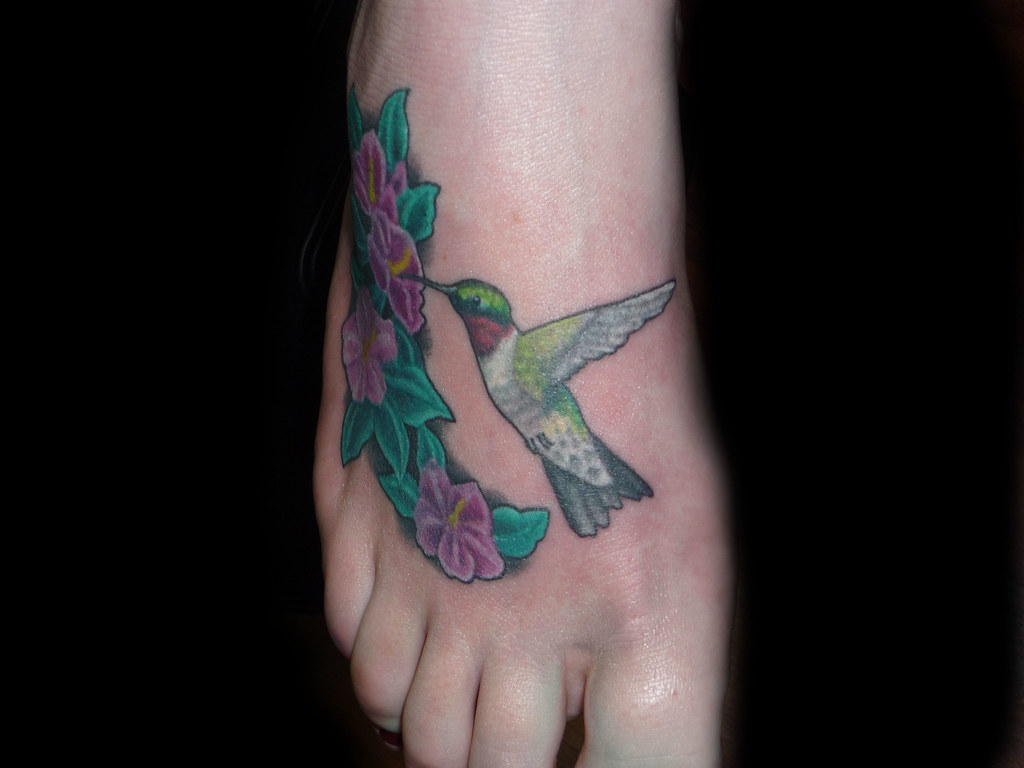 Humingbird Flower Tattoo On Foot This Hummingbird And Ideas And Designs
