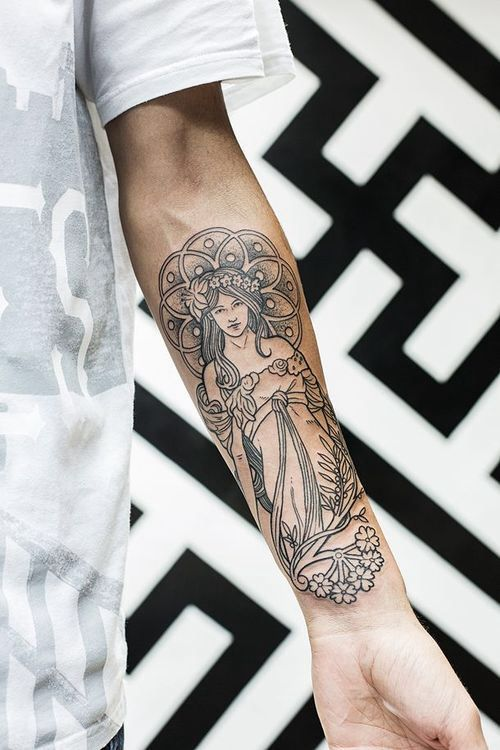 Black And White Art Deco Tattoo Well Executed Cool Ideas And Designs