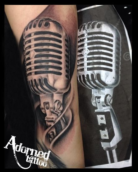 Realistic Microphone Tattoo By Craig Bartlett Adorned Ideas And Designs