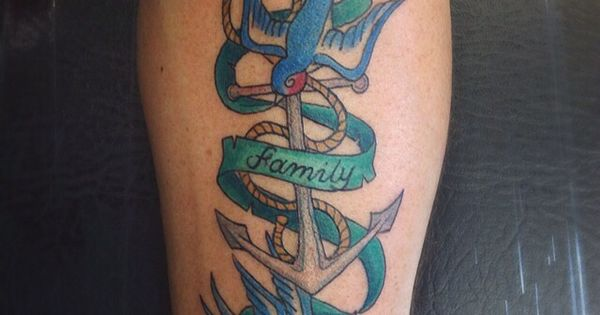 Swallows With Family Banner Anchor And Rope Forearm Colour Ideas And Designs