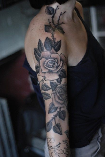 A Black And Grey Rose 1 2 Sleeve Tattoo Very Feminine And Ideas And Designs
