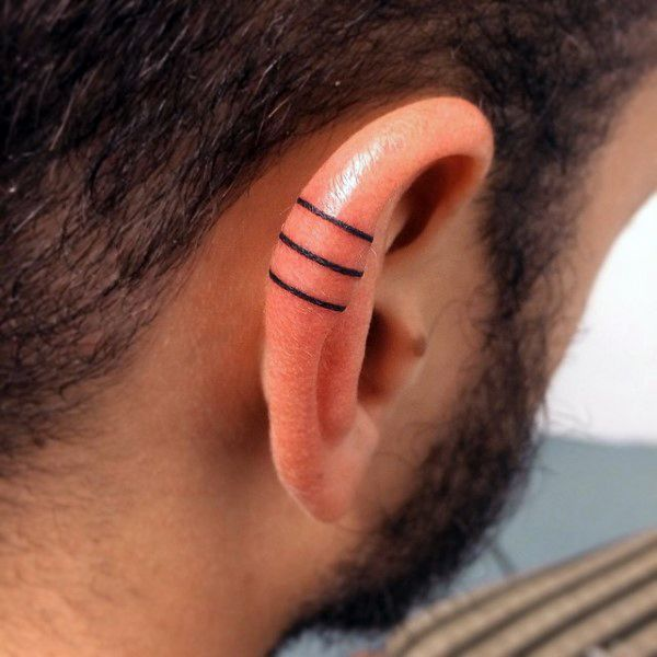 Three Solid Black Iink Lines Guys Ear Tattoo Designs Ideas And Designs