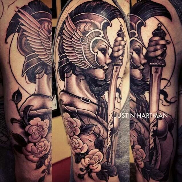 Female Warrior By Justin Hartman Black Gray Tattoos Ideas And Designs